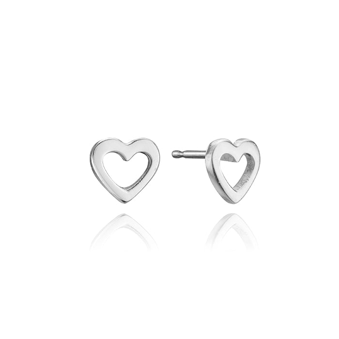 lafia mini stud collection mini open heart stud white gold