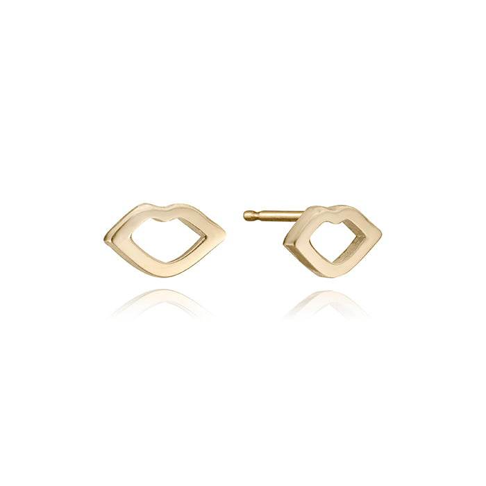 lafia mini stud collection mini open lips stud yellow gold