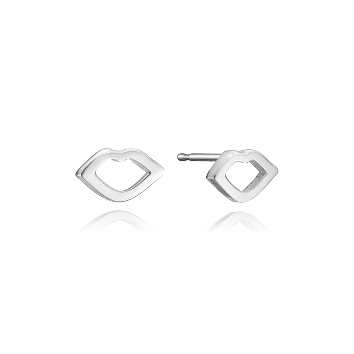 lafia mini stud collection mini open lips stud white gold