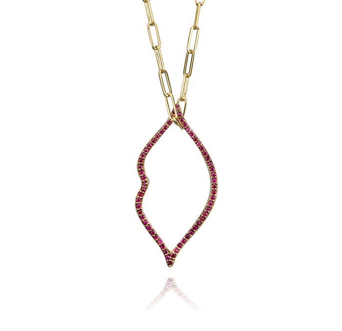 lafia charm collection small ruby lips charm in semi-precious stones on paper clip chain set in yellow 14k gold