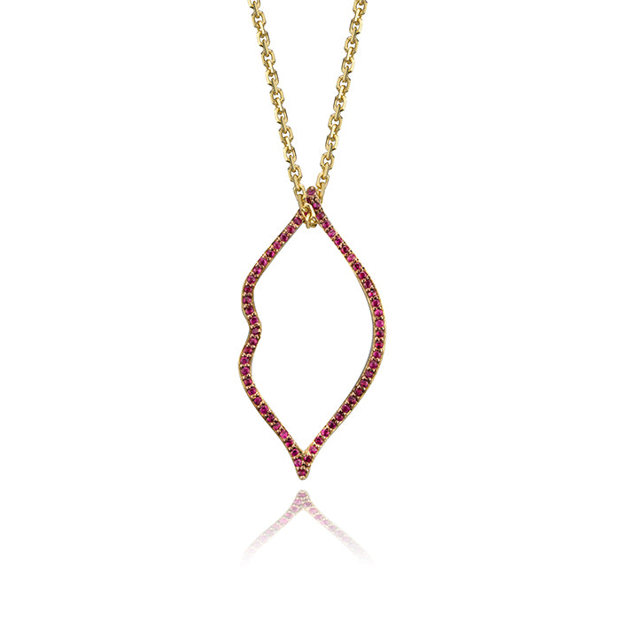 lafia charm collection small ruby lips charm in semi-precious stones on oval channel chain set in yellow 14k gold