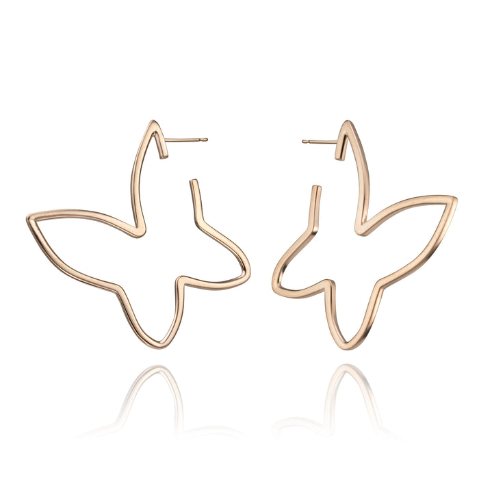lafia signature butterfly large open earrings in 14 karat rose gold