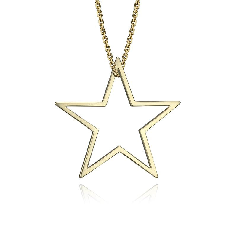 lafia charm collection large star charm necklace on oval channel chain set in yellow 14k gold