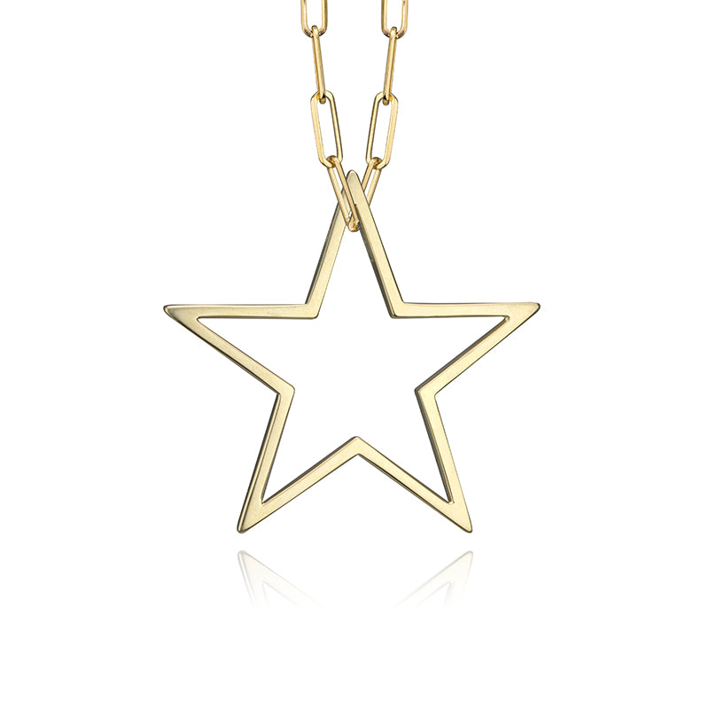 Medium paper clip chain with large star charm in 14k yellow gold