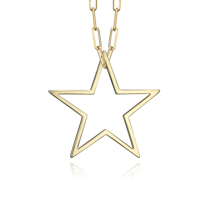 lafia charm collection large star charm necklace on paper clip chain set in yellow 14k gold