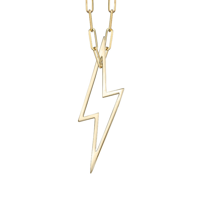 lafia charm collection large lightning necklace on medium paper clip chain set in yellow 14k gold