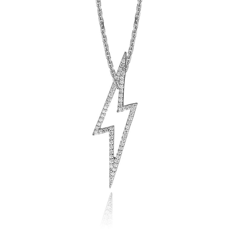 lafia charm collection small diamond lightning necklace on oval channel chain set in 14k white gold