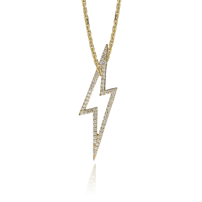 lafia charm collection small diamond lightning necklace on oval channel chain set in yellow 14k gold