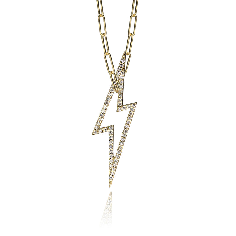 lafia charm collection small diamond lightning necklace on paper clip chain set in yellow 14k gold