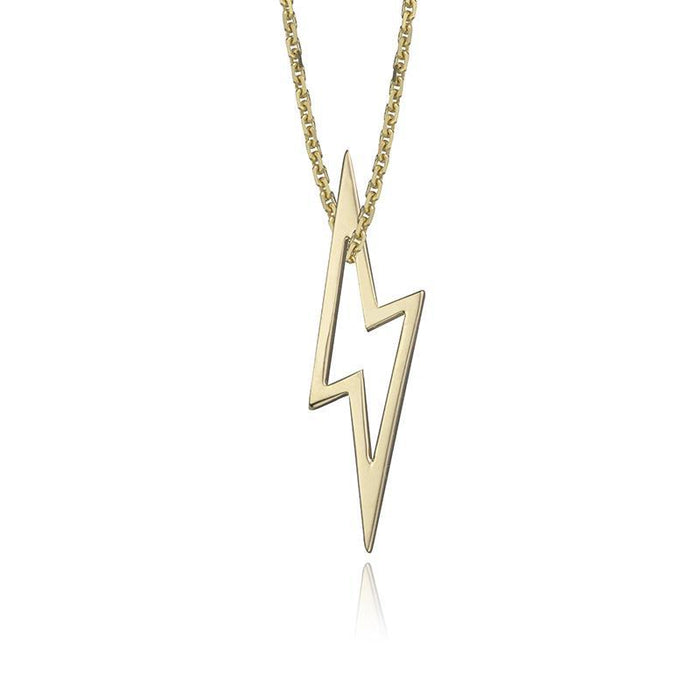 lafia charm collection small lightning necklace on oval channel chain set in yellow 14k gold
