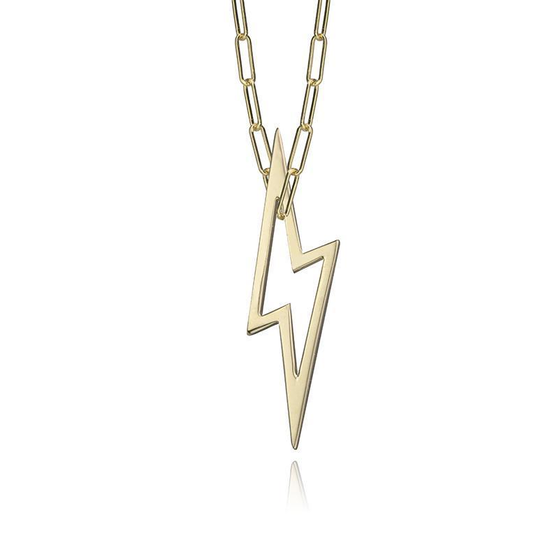 lafia charm collection small lightning necklace on paper clip chain set in yellow 14k gold