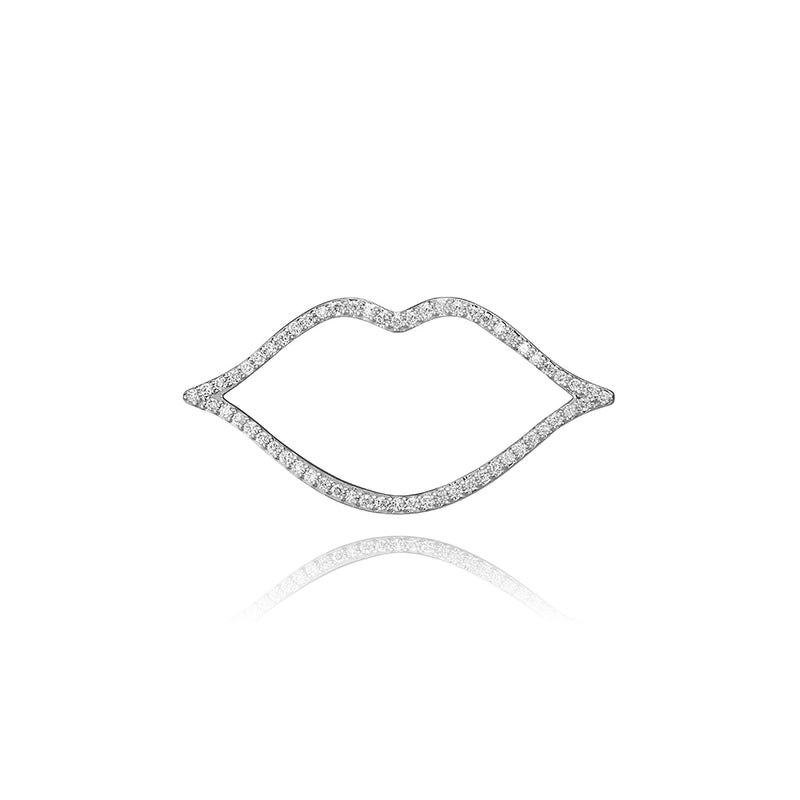 lafia charm collection small diamond lips charm in 14k white gold