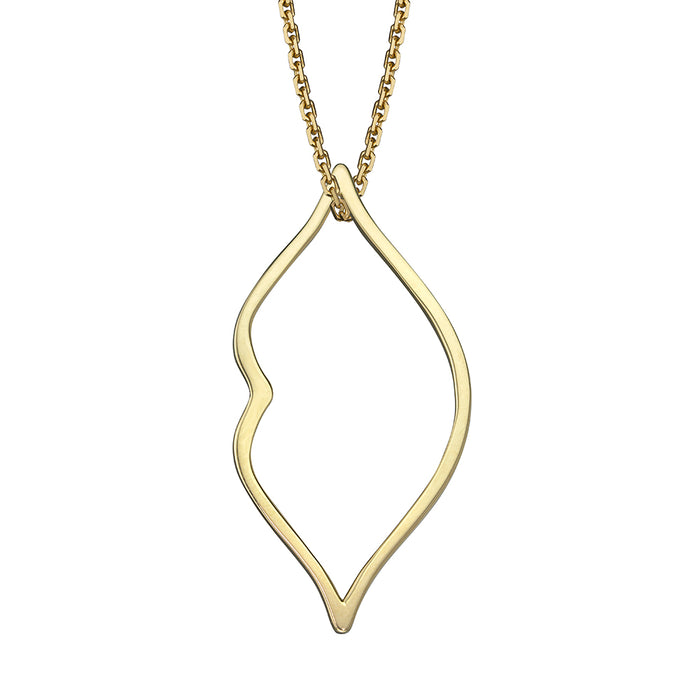 lafia charm collection large lips charm necklace on oval channel chain set in yellow 14k gold