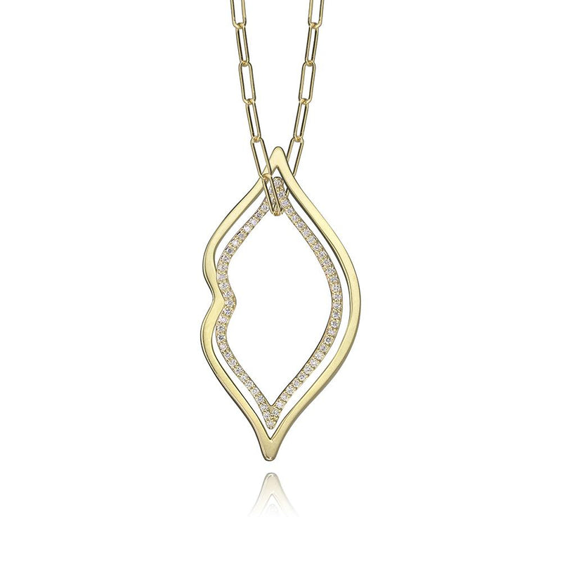 lafia charm collection large lips charm and small diamond lip charm necklace on paper clip chain set in yellow 14k gold