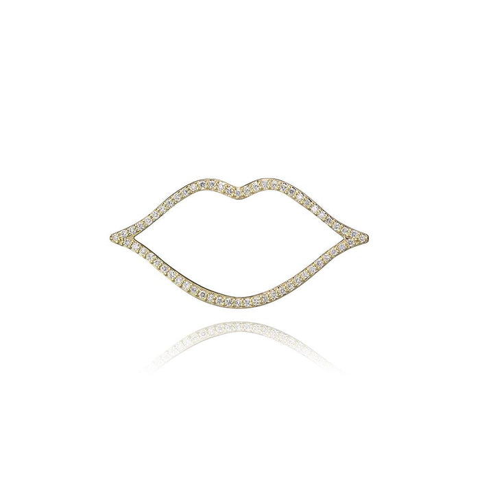 lafia charm collection small diamond lips charm in yellow 14k gold