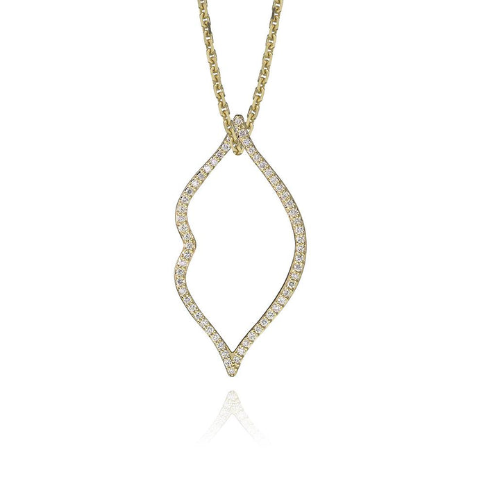lafia charm collection small lips charm necklace on oval channel chain set in yellow 14k gold