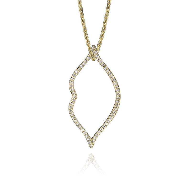 lafia charm collection small diamond lips charm necklace on oval channel chain set in yellow 14k gold