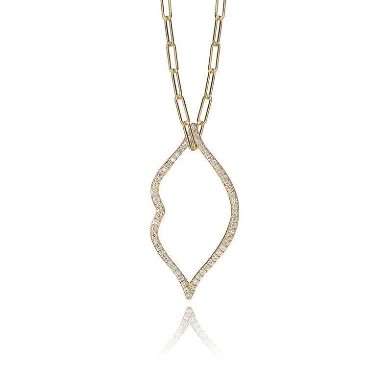 lafia charm collection small diamond lips charm necklace on paper clip chain set in yellow 14k gold