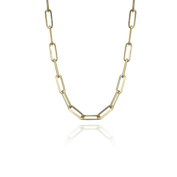 Medium paper clip chain in 14k yellow gold