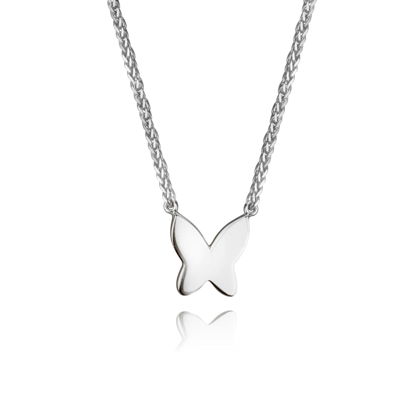 lafia collection butterfly necklace 14 karat white gold