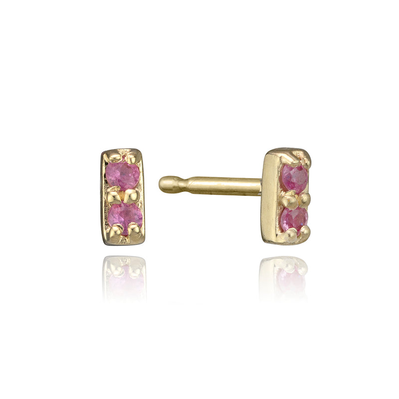 lafia mini stud collection pink sapphire bar stud yellow gold