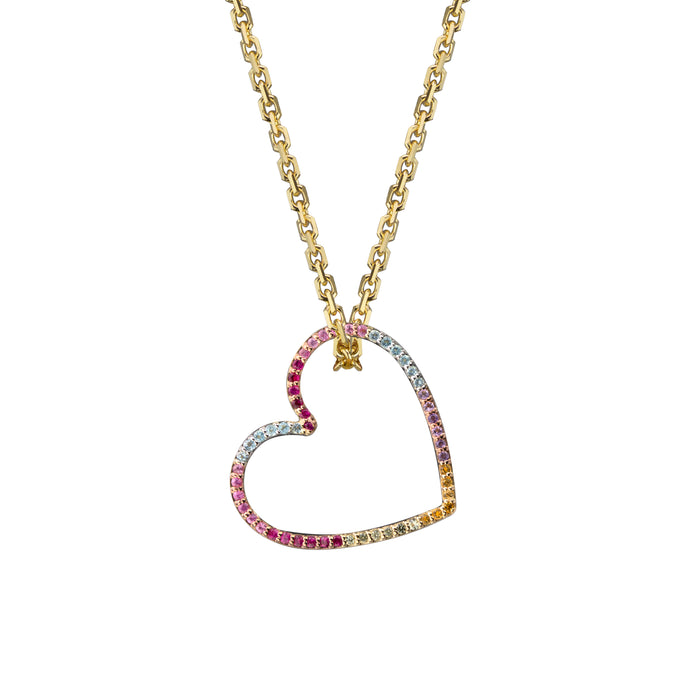 Heart charm semi-precious rainbow in yellow gold on oval link chain, or amethyst, blue topaz, citrine, emerald, pink sapphire, ruby or black diamonds