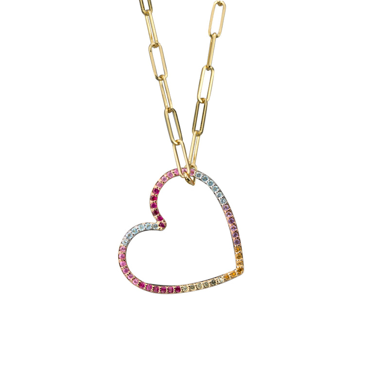 Heart charm semi-precious rainbow in yellow gold on small paperclip chain, or amethyst, blue topaz, citrine, emerald, pink sapphire, ruby or black diamonds