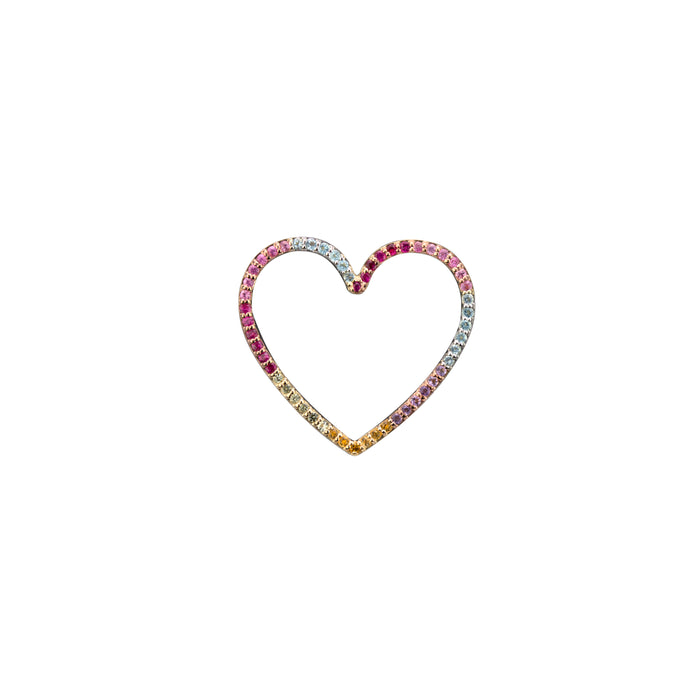 Heart charm semi-precious rainbow in yellow gold, or amethyst, blue topaz, citrine, emerald, pink sapphire, ruby or black diamonds