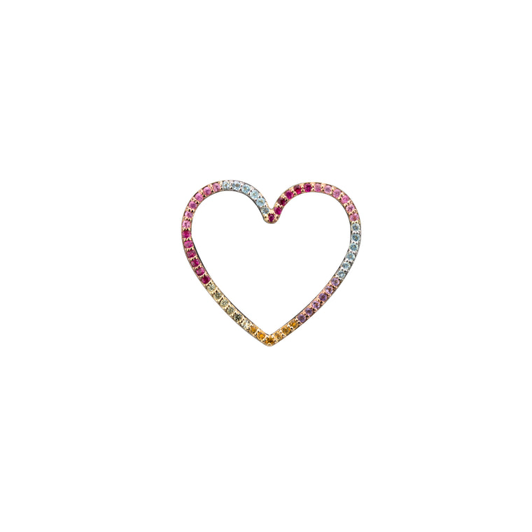 HEART CHARM with SEMI-PRECIOUS STONES (Small)