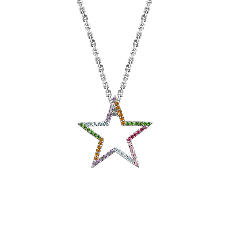 Star charm semi-precious rainbow in white gold on oval link chain, or amethyst, blue topaz, citrine, emerald, pink sapphire, ruby or black diamonds