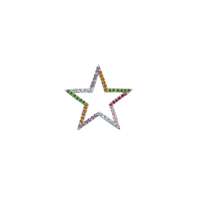 Star charm semi-precious rainbow in white gold, or amethyst, blue topaz, citrine, emerald, pink sapphire, ruby or black diamonds