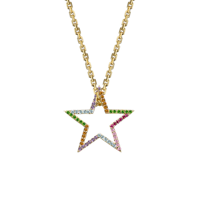 Star charm semi-precious rainbow in yellow gold on oval link chain, or amethyst, blue topaz, citrine, emerald, pink sapphire, ruby or black diamonds