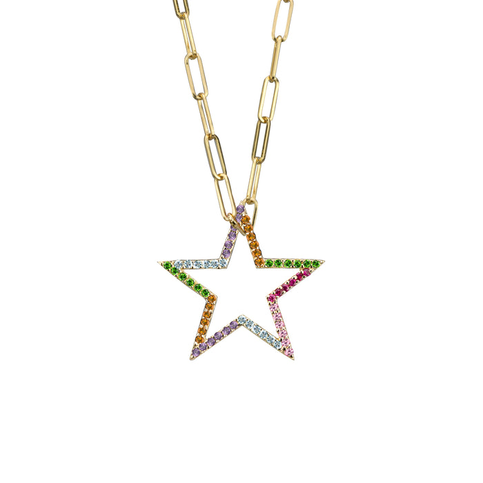 Star charm semi-precious rainbow in yellow gold on small paperclip chain, or amethyst, blue topaz, citrine, emerald, pink sapphire, ruby or black diamonds