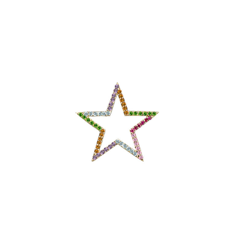 Star charm semi-precious rainbow in yellow gold, or amethyst, blue topaz, citrine, emerald, pink sapphire, ruby or black diamonds