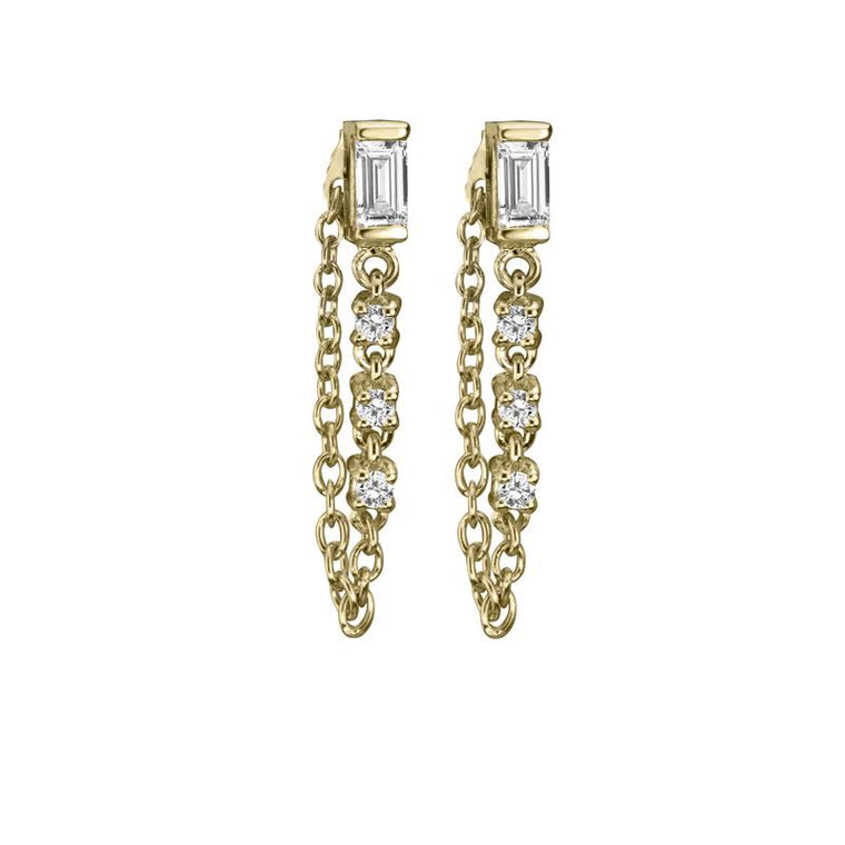 SAPPHIRE BAGUETTE WITH DIAMOND CHAIN EARRINGS
