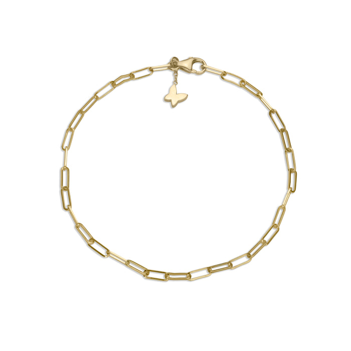 Small paperclip chain bracelet in 14k yellow gold with signature lafia butterfly clasp