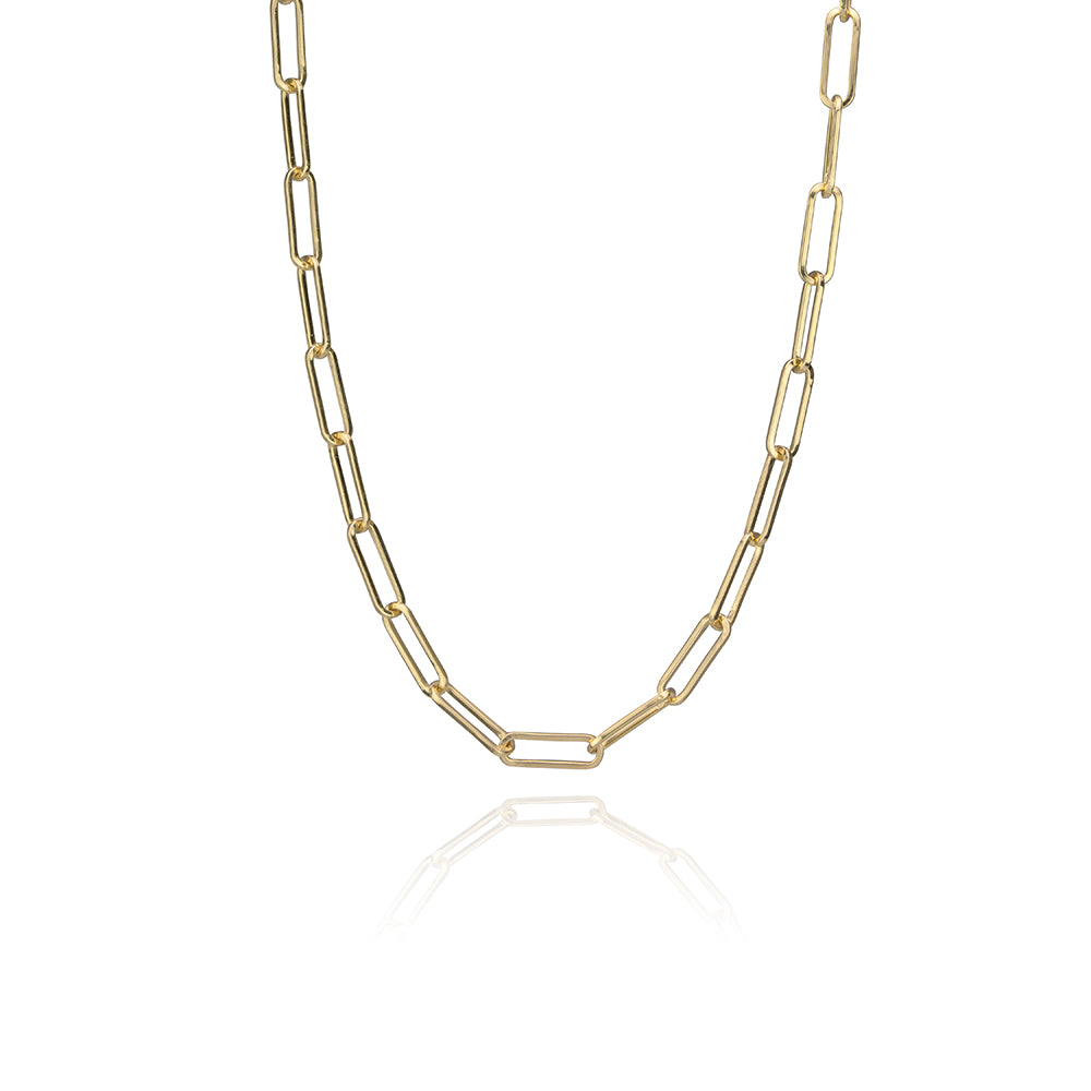 Small paper clip chain in 14k yellow gold