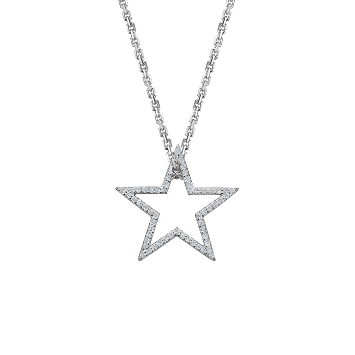 Diamond Star charm small in 14 karat white gold on oval link chain