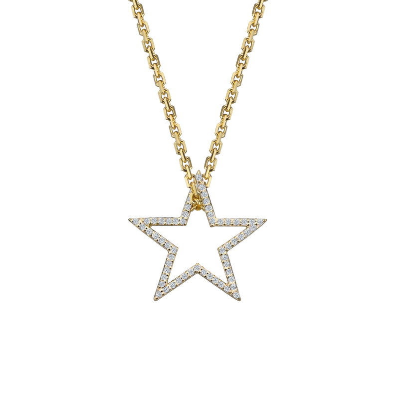 Diamond Star charm small in 14 karat yellow gold on oval link chain