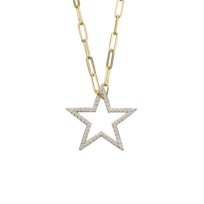 Diamond Star charm small in 14 karat yellow gold on small paperclip chain