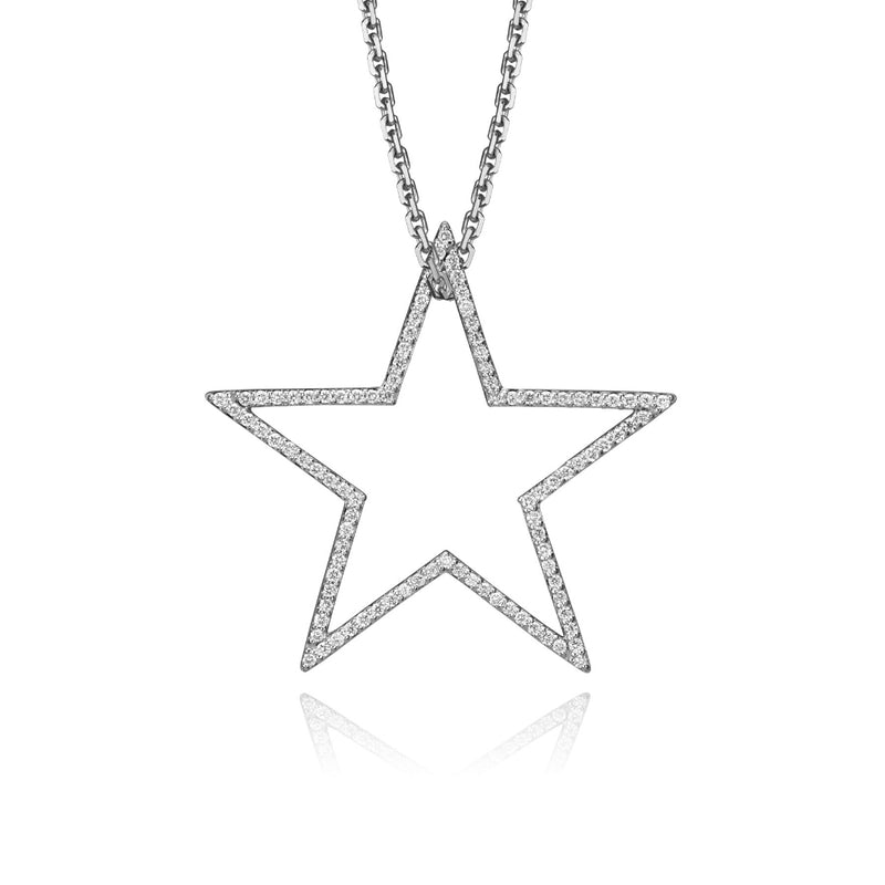 lafia charm collection large diamond star charm necklace on oval channel chain set in 14k white gold