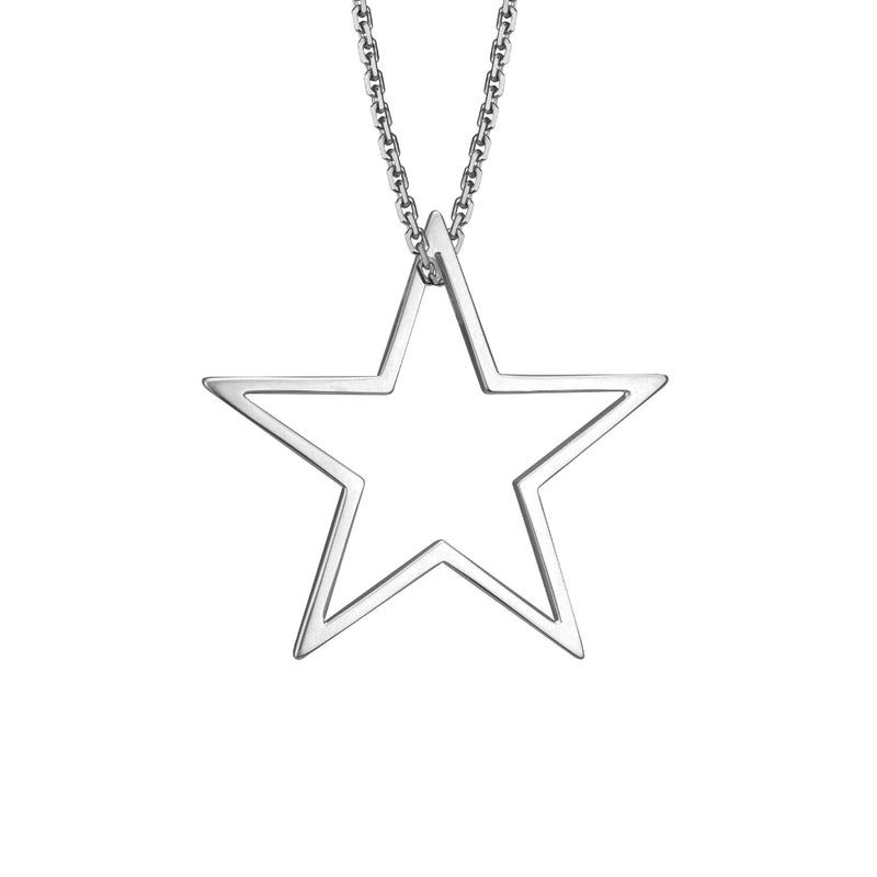 lafia charm collection large star charm necklace on oval channel chain set in 14k white gold