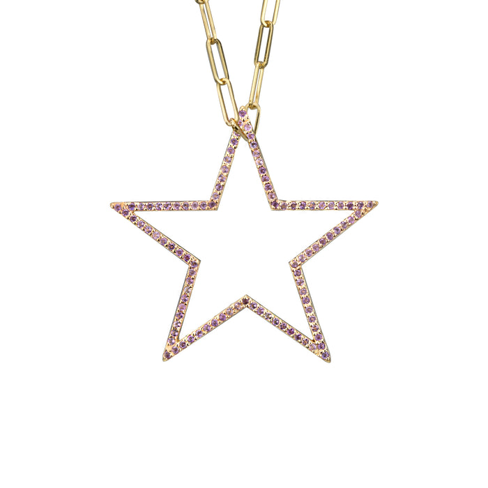 Star charm large Amethyst in yellow gold on medium paperclip chain, or blue topaz, citrine, emerald, pink sapphire, ruby, rainbow or black diamonds
