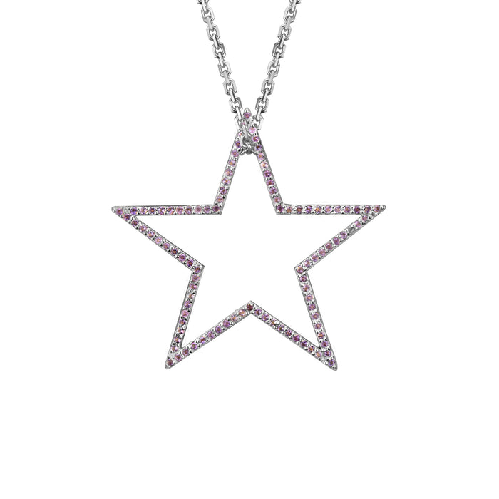 Star charm large Amethyst in white gold on oval link chain, or blue topaz, citrine, emerald, pink sapphire, ruby, rainbow or black diamonds
