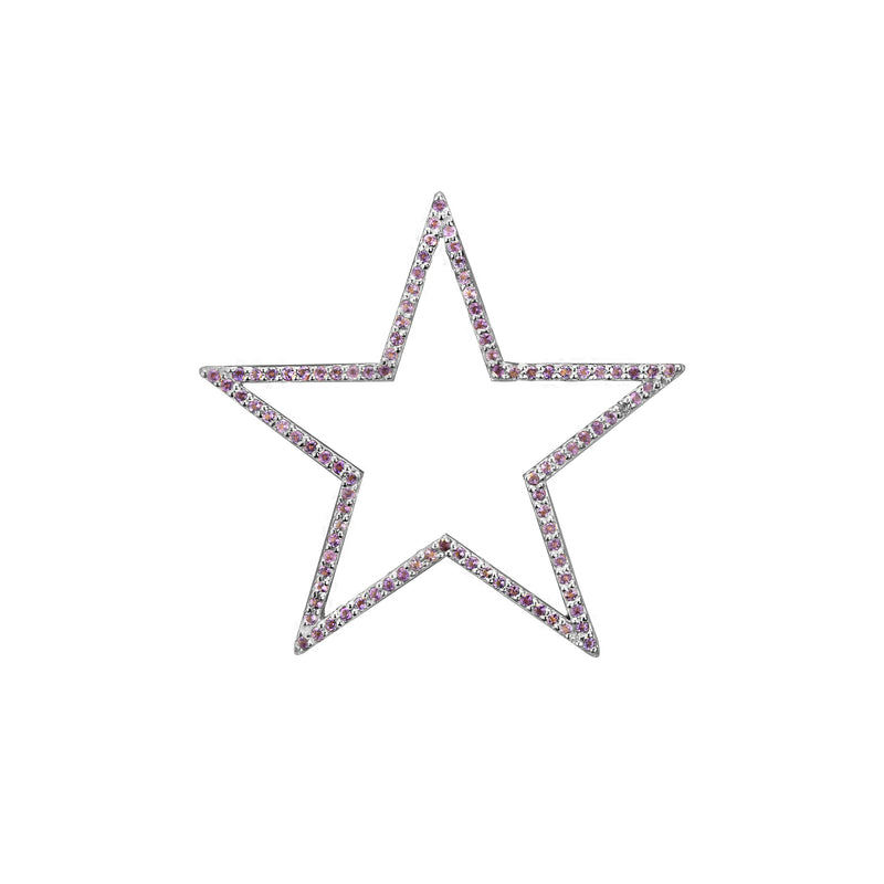Star charm large Amethyst in white gold, or blue topaz, citrine, emerald, pink sapphire, ruby, rainbow or black diamonds