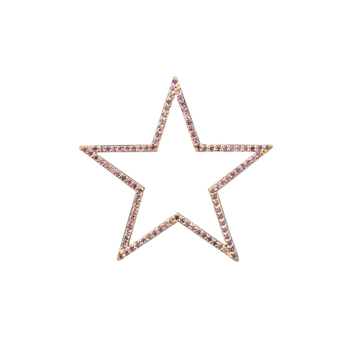 Star charm large Amethyst in yellow gold, or blue topaz, citrine, emerald, pink sapphire, ruby, rainbow or black diamonds