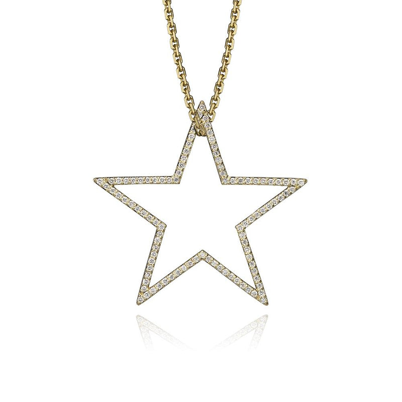 lafia charm collection large diamond star charm necklace on oval channel chain set in yellow 14k gold