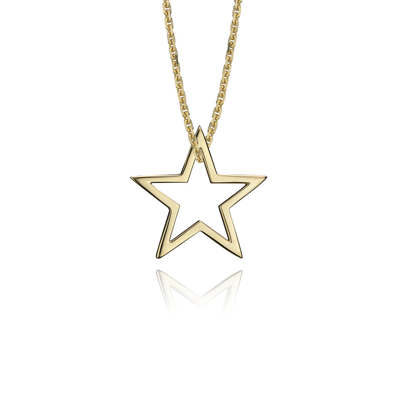lafia charm collection small star charm necklace on oval channel chain set in yellow 14k gold