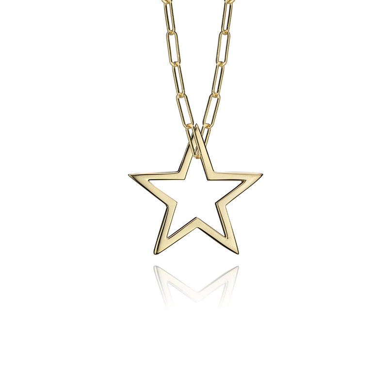 lafia charm collection small star charm necklace on paper clip chain set in yellow 14k gold