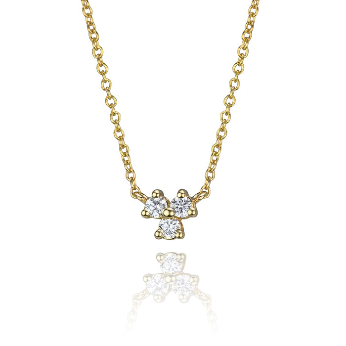 lafia goddess three point diamond necklace in 14 karat yellow gold